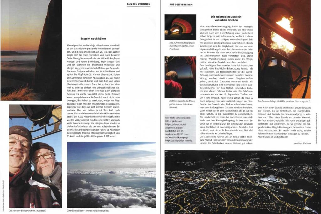 Scan aus Ballonsport Magazin Jan/Feb 21